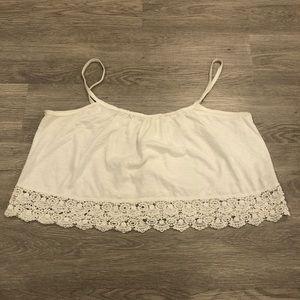 TNA Crochet Trim Spaghetti Strap Crop Top Size M